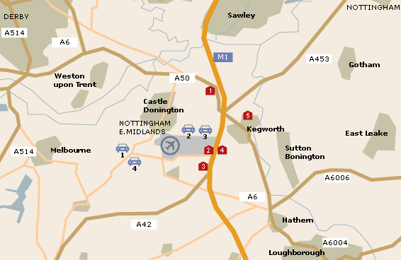 East Midlands Nottingham Airport Map